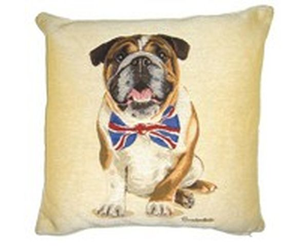 Coussin British Bulldog Noeud papillon