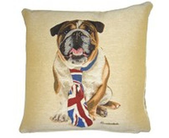Coussin British Bulldog Cravate