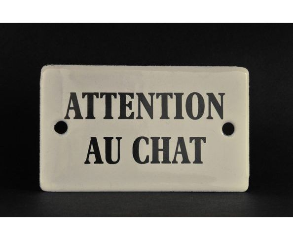 Attention au chat - Plaque émaillée