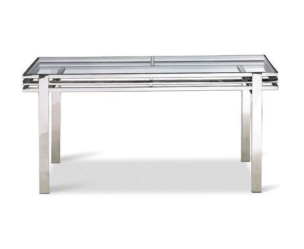 Table bureau en verre tremp et inox poli sur deco and me for Table de cuisine en verre trempe