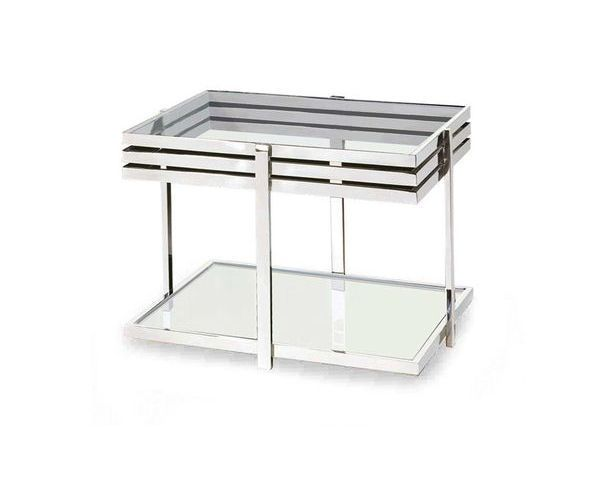 Table d'appoint en verre trempé et acier