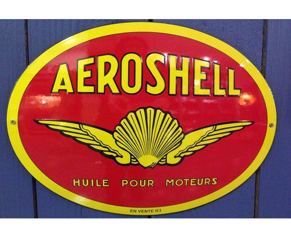 Aeroshell - Plaque émaillée au pochoir