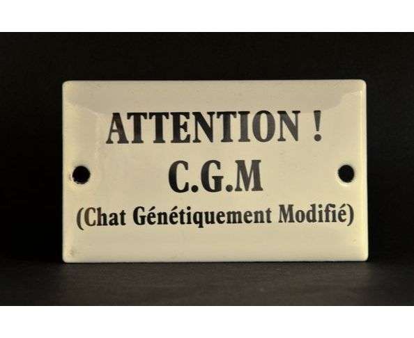 Attention CGM Chat - Plaque émaillée