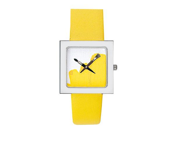 PLUS COMMANDABLE - Montre Akteo Peinture jaune  kubik lady