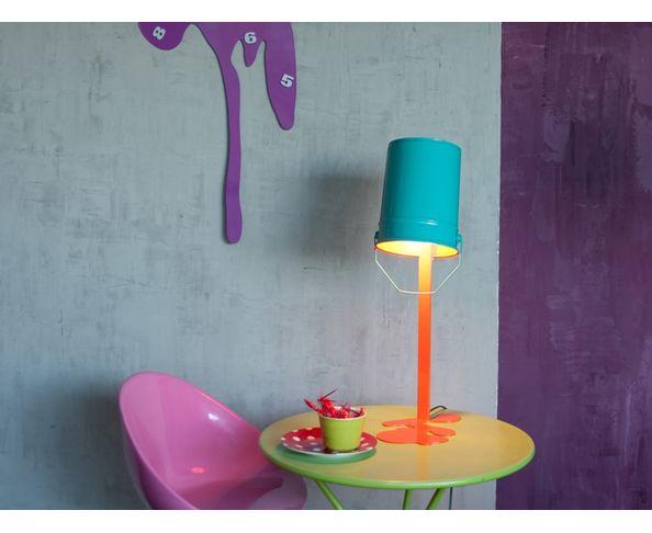 Lampe OUPS ! en métal laqué Orange-Turquoise