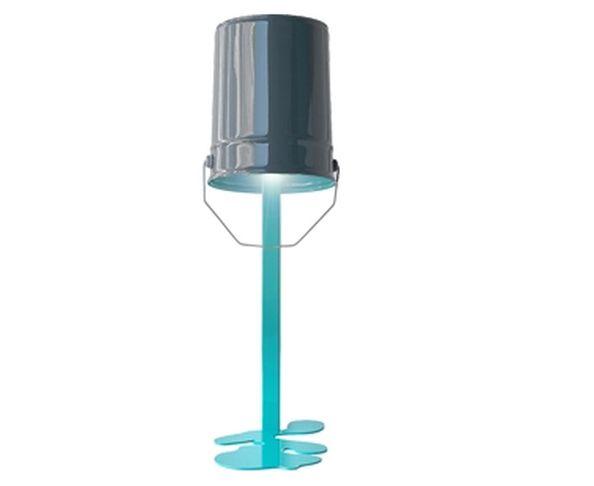 Lampe OUPS ! en métal laqué Turquoise-Noir