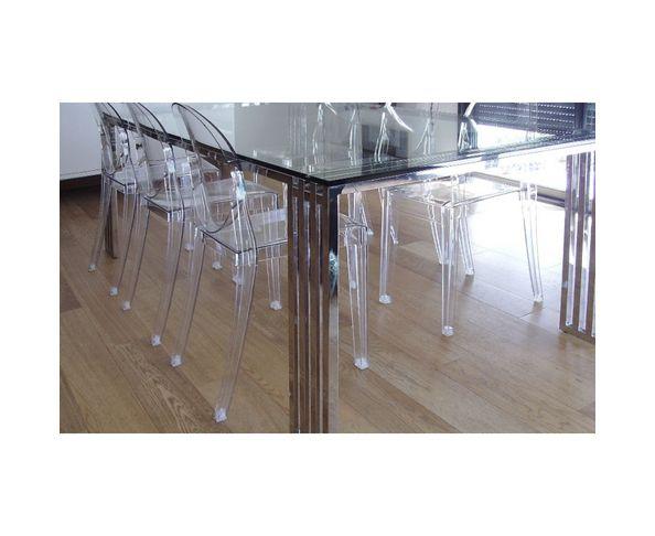 Table de repas 2m en verre et acier