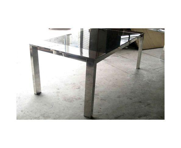 Table de repas rectangulaire, verre et acier