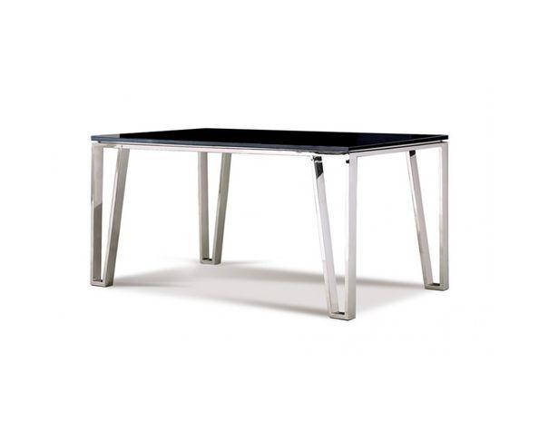 Table de repas en verre trempé et pieds en métal