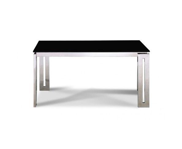 Petite table de repas en verre noir et acier