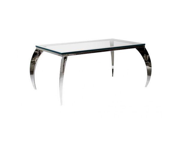 Table de repas en verre trempé et pieds courbés