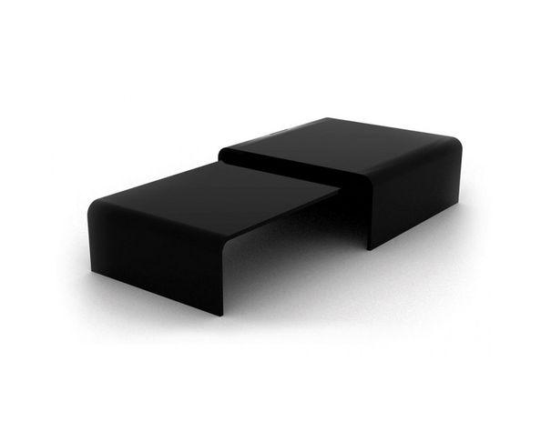 Table basse double verre noir
