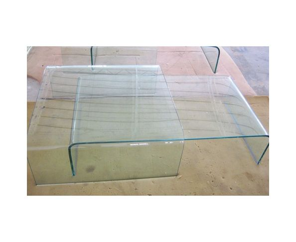 Table basse double verre transparent
