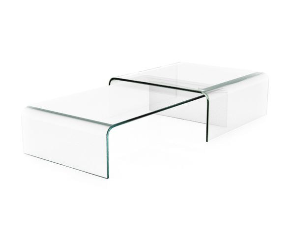 table basse double verre transparent sur deco and me. Black Bedroom Furniture Sets. Home Design Ideas