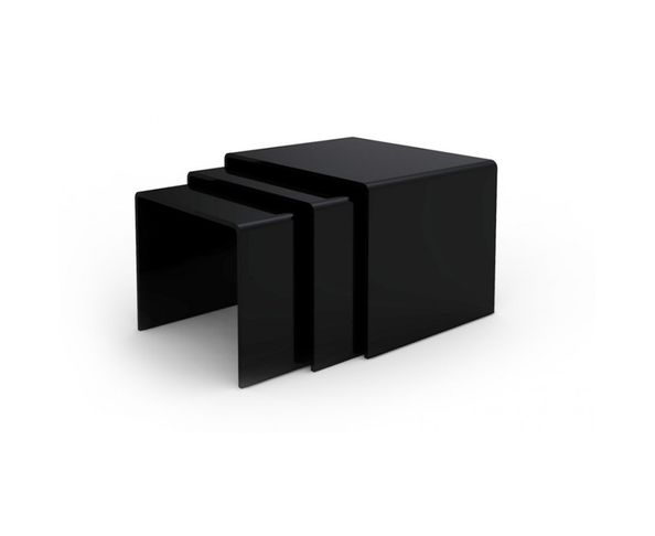 Tables gigognes en verre noir