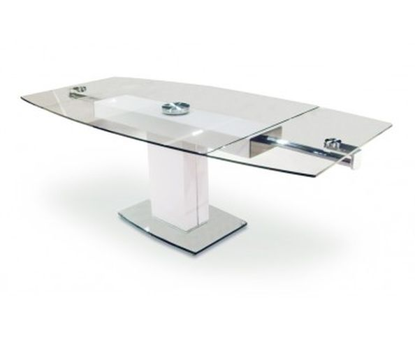 Table bureau en verre tremp et inox poli sur deco and me for Table en verre extensible design