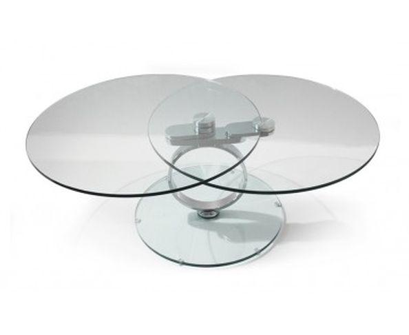 Table basse  articulée 2 plateaux ronds socle en acier chromé