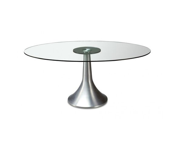 Table de repas ronde en verre 120 cm sur deco and me for Table de cuisine ronde en verre pied central