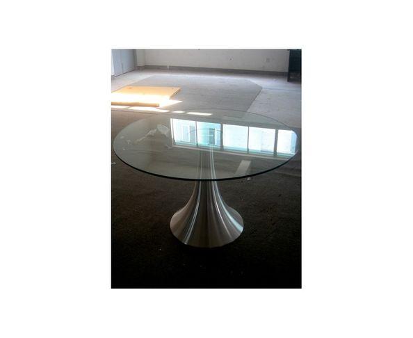 Table de repas ronde en verre  120 cm