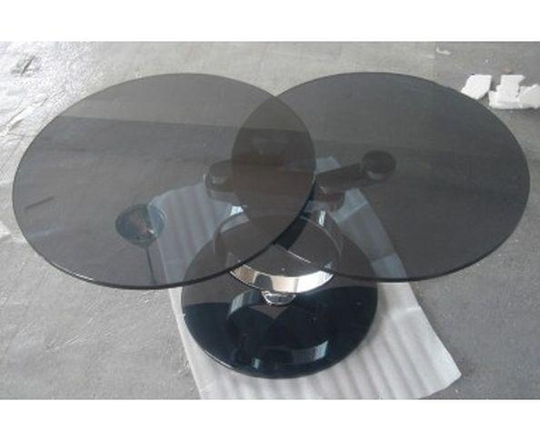 Table basse ronde articulée, 2 plateaux