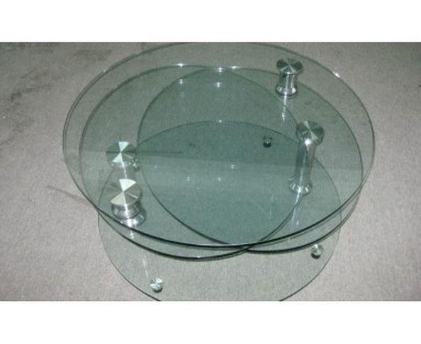 Table basse articulée en verre et inox
