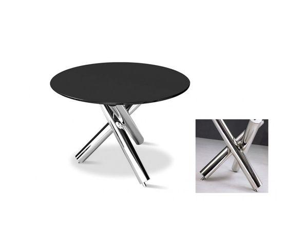 Table de repas ronde en verre et acier