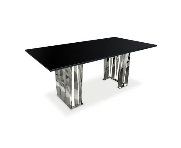 table de repas acier et verre sur deco and me. Black Bedroom Furniture Sets. Home Design Ideas
