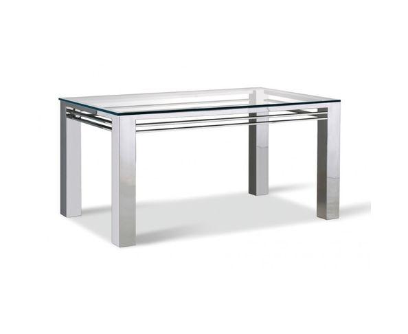 Table de repas, verre et acier