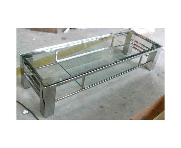 Meuble télé plasma en verre et acier