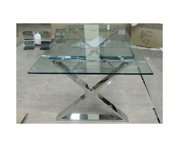 Table de repas rectangulaire en verre et acier