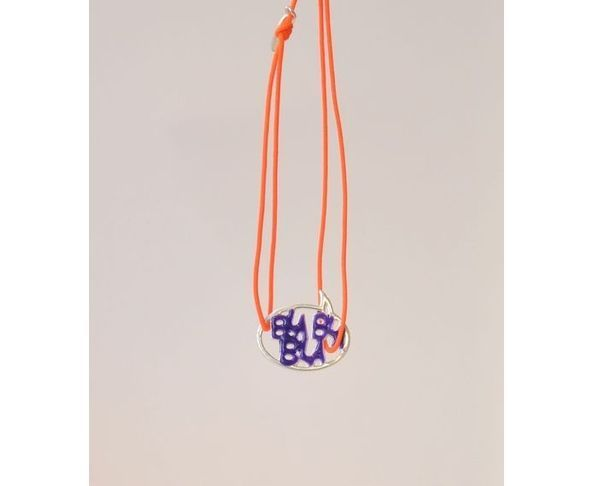 Bracelet argent - Bla Bla Bla bleu / orange - La Mome Bijoux