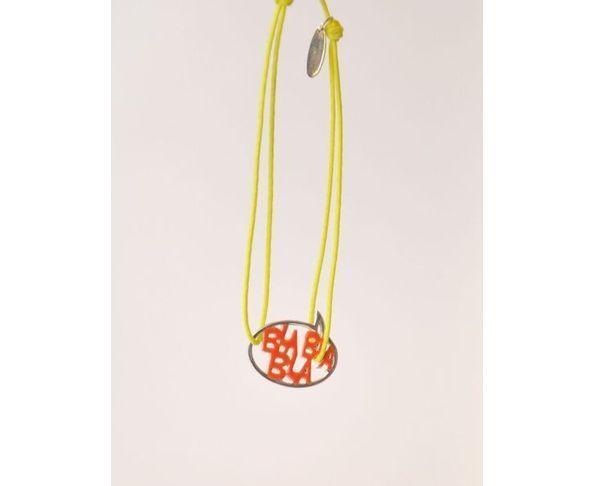 Bracelet argent - Bla Bla Bla orange / jaune - La Mome Bijoux