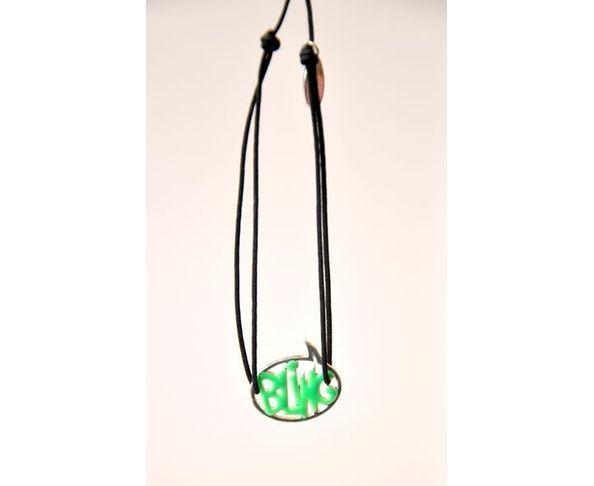 Bracelet argent - Bling vert / noir - La Mome Bijoux