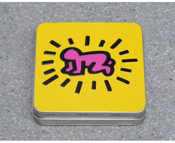"Boite à biscuits collector Keith Haring ""Bébé rayonnant"" - 12 biscuits personnalisés"