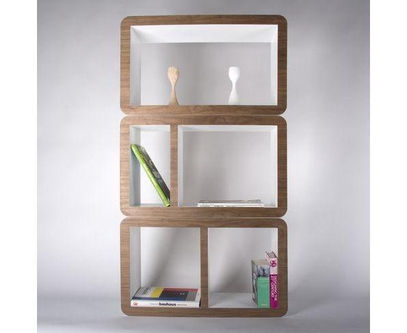 Etag res biblioth ques etag re blanc noisette sur deco and me by l - Etagere modulable metal ...