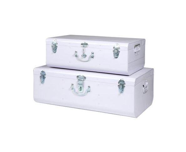 Valise blanche GM - malle en métal