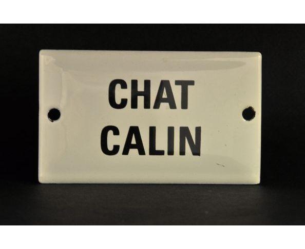Chat calin - 6 x 10 cm - Plaque émaillée