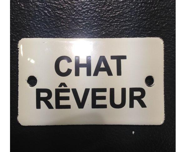 Chat rêveur - 6 x 10 cm - Plaque émaillée