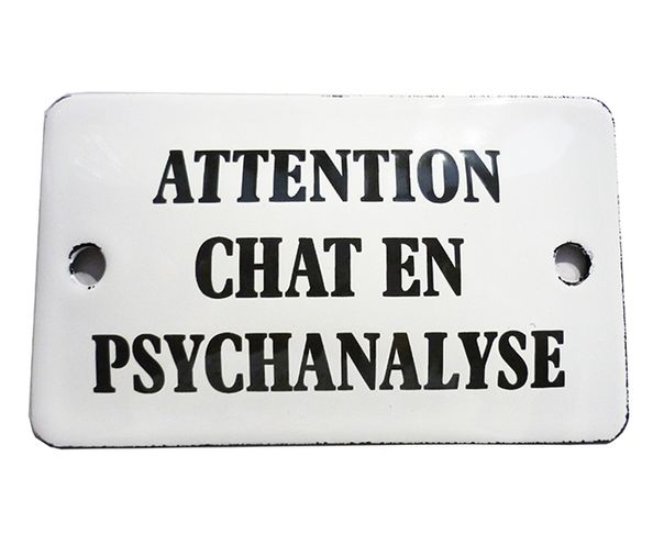 Attention chat en psychanalyse - Plaque émaillée