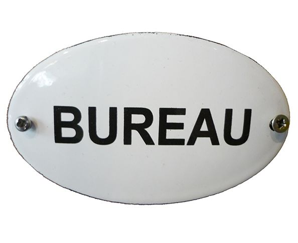"Plaque émaillée ""Bureau"" - Ovale 55 x 90 mm"
