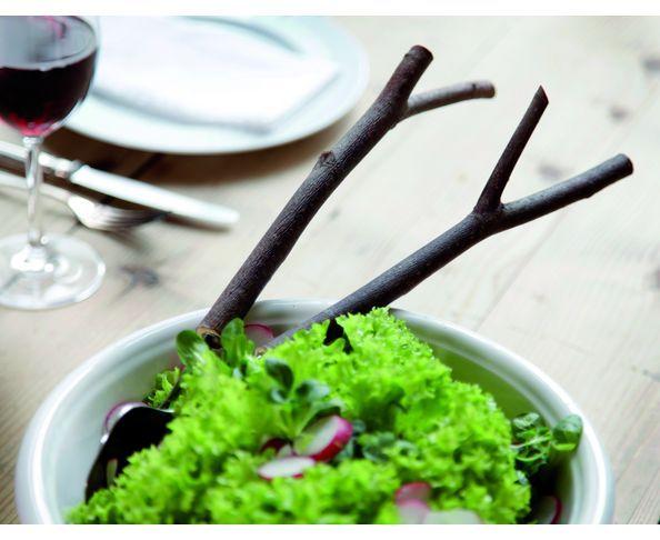 Couverts à salade en branche d'arbre Manta Design