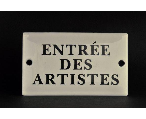 Entrée des artistes - 6 x 10 cm - Plaque émaillée