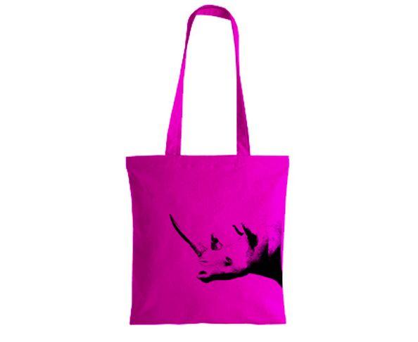 Sac shopping Auberginette Rhinocéros Fuschia