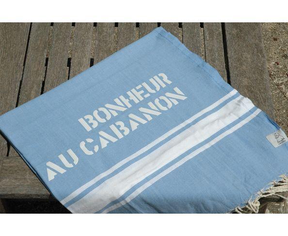 Fouta Bonheur au Cabanon Bleu Clair