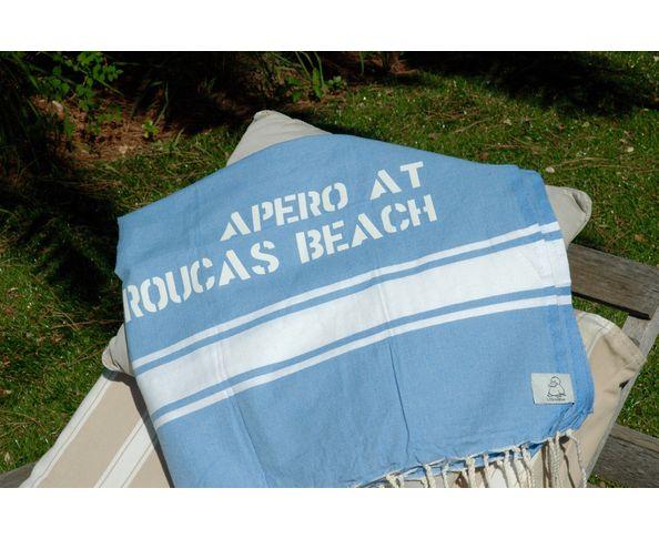Fouta Apéro at Roucas beach Bleu clair