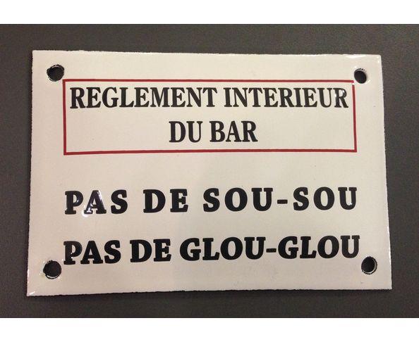 Règlement intérieur du bar - Plaque émaillée