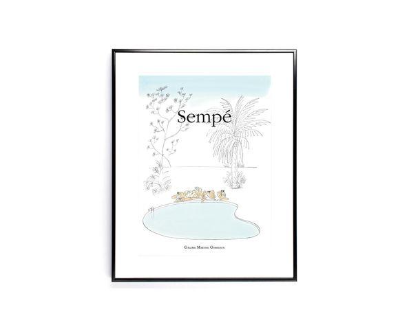 Affiche Sempe Piscine  - Tirage argentique - Image Republic