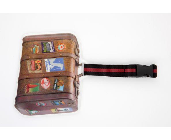 Etiquette à bagage en forme de valise