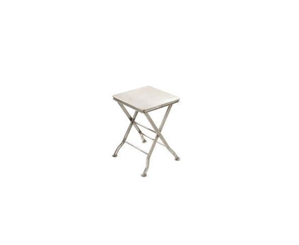 Tabouret en métal orange pliant