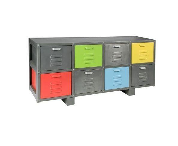 Buffet métal 8 tiroirs couleurs